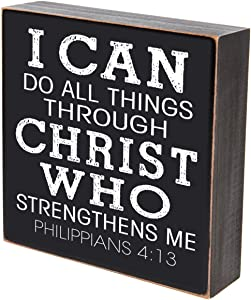 """LifeSong Milestones I Can Do All Things Through Christ Who Strengthens Me Wedding for Couple, Housewarming Gift Ideas for Mr. and Mrs. Shadow Box 6""""x6"""" (I can do All Things)"""
