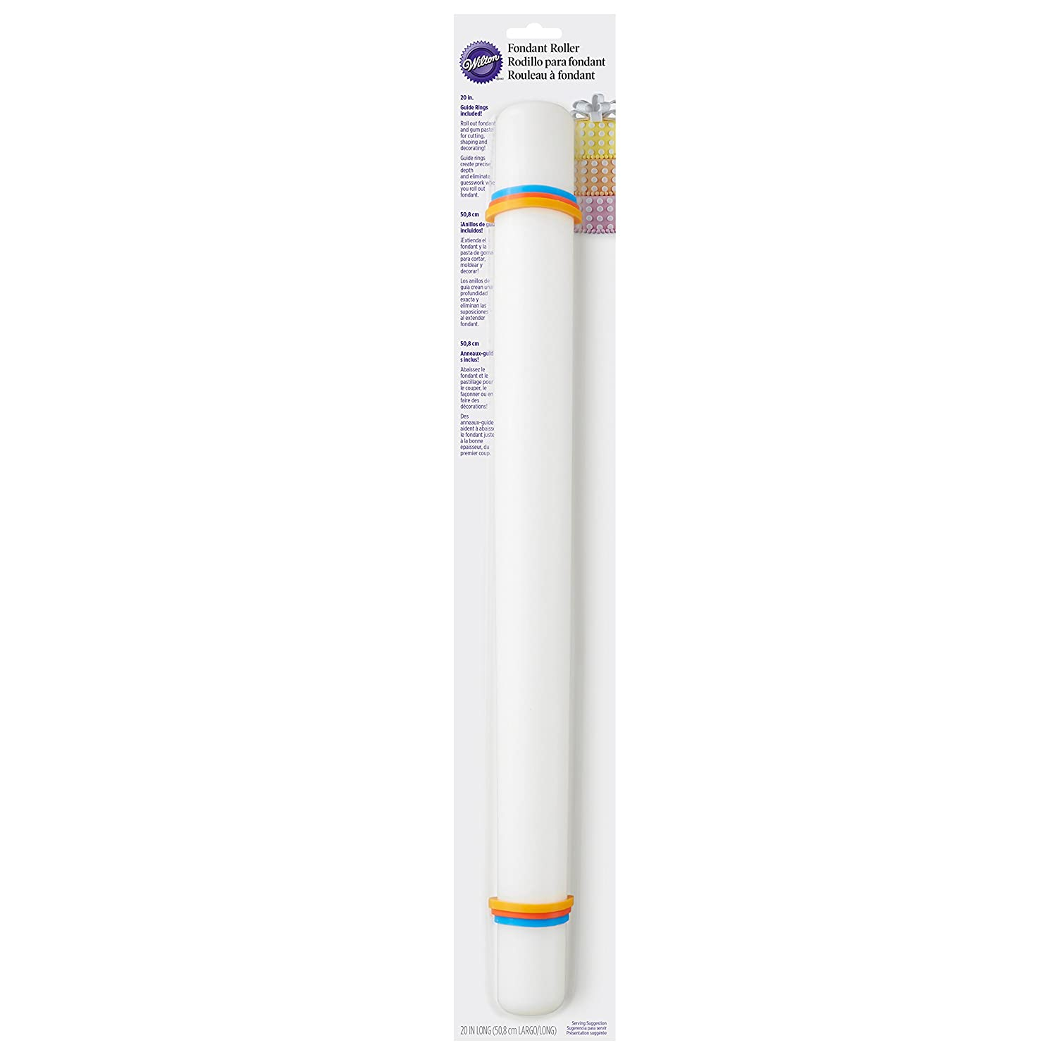 50.8 cm Large 20 in Plastic Wilton Fondant Roller Rolling Pin with Guide Rings