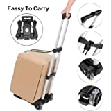 Feyue Luggage Cart Folding Compact Lightweight Portable Aluminum Alloy Luggage Carriers with Wheels Hand Truck with…