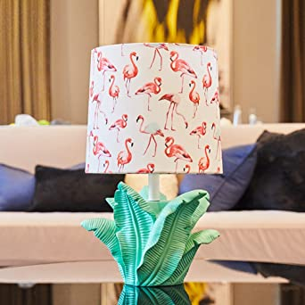 HMu0026DX Moderne Tischlampe Flamingo Gedruckt Stoffschirm Harz Basis Bett  Nachttisch Lampe Dekoration Schreibtischlampe Für