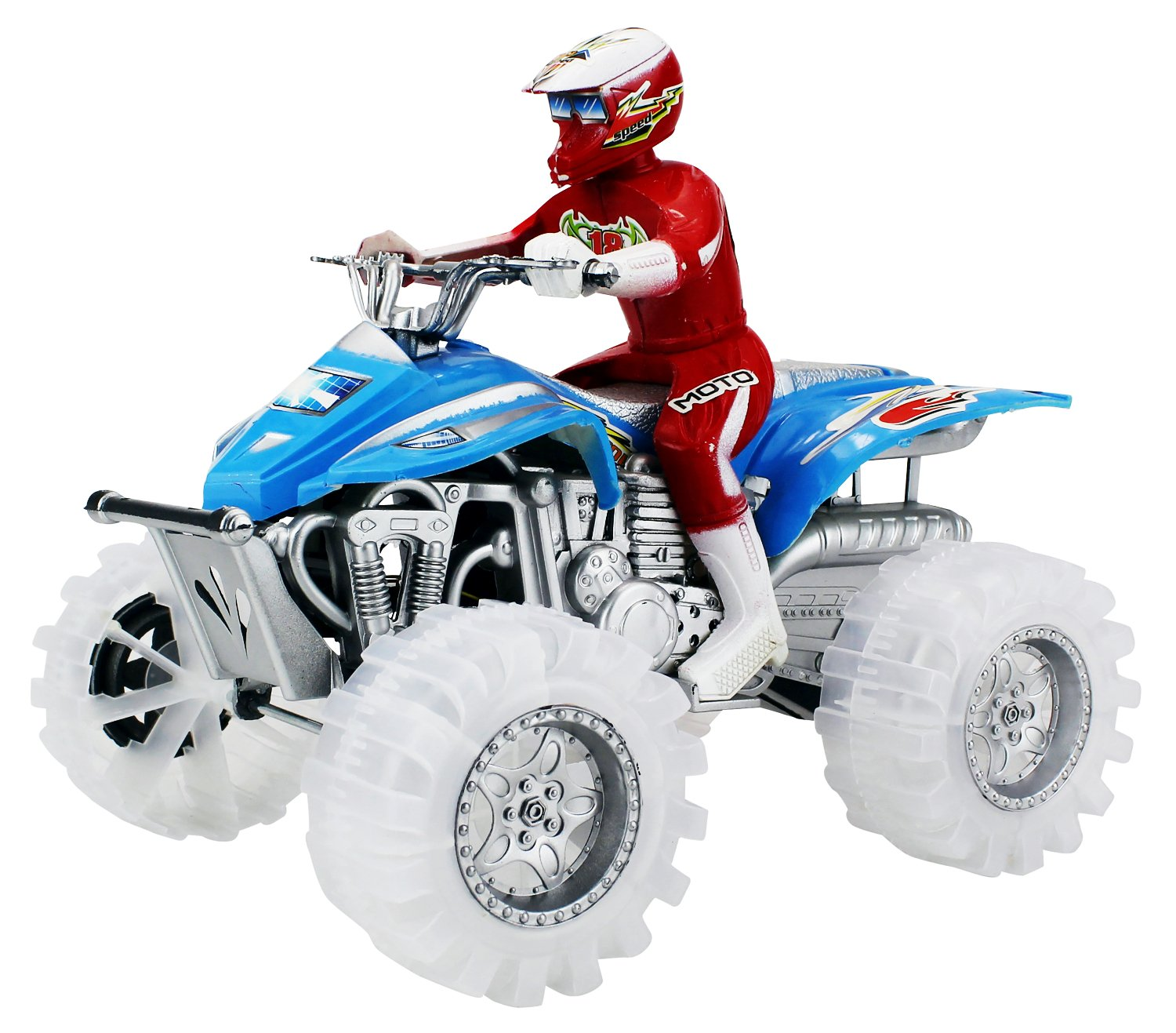 Beach Rider ATV Truck Battery Operated Friction Toy Vehicle Ready To Run w/ Lights, Sounds (Colors May Vary)
