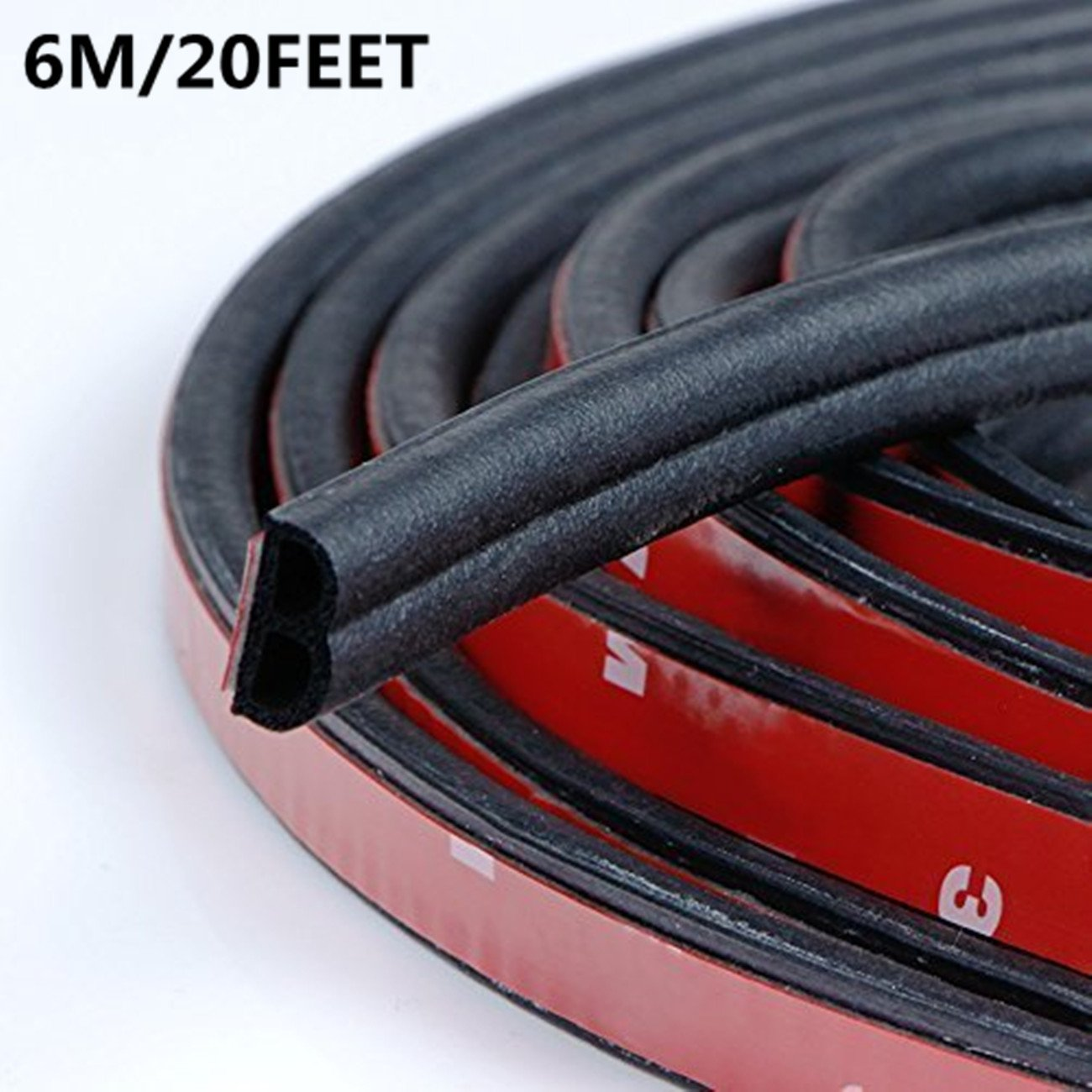 Self Adhesive Automotive Rubber Seal Strip Weatherstrip Car Weather Stripping for Car Window Door Engine Cover Noise Insulation(B-Shape Black total length 6M/20 Feet )