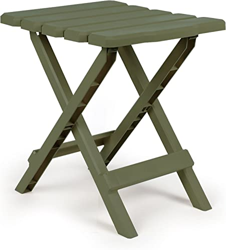 Camco 51880 Adirondack Portable Outdoor Folding Side Table, Perfect for The Beach, Camping, Picnics, Cookouts More, Weatherproof Rust Resistant – Sage