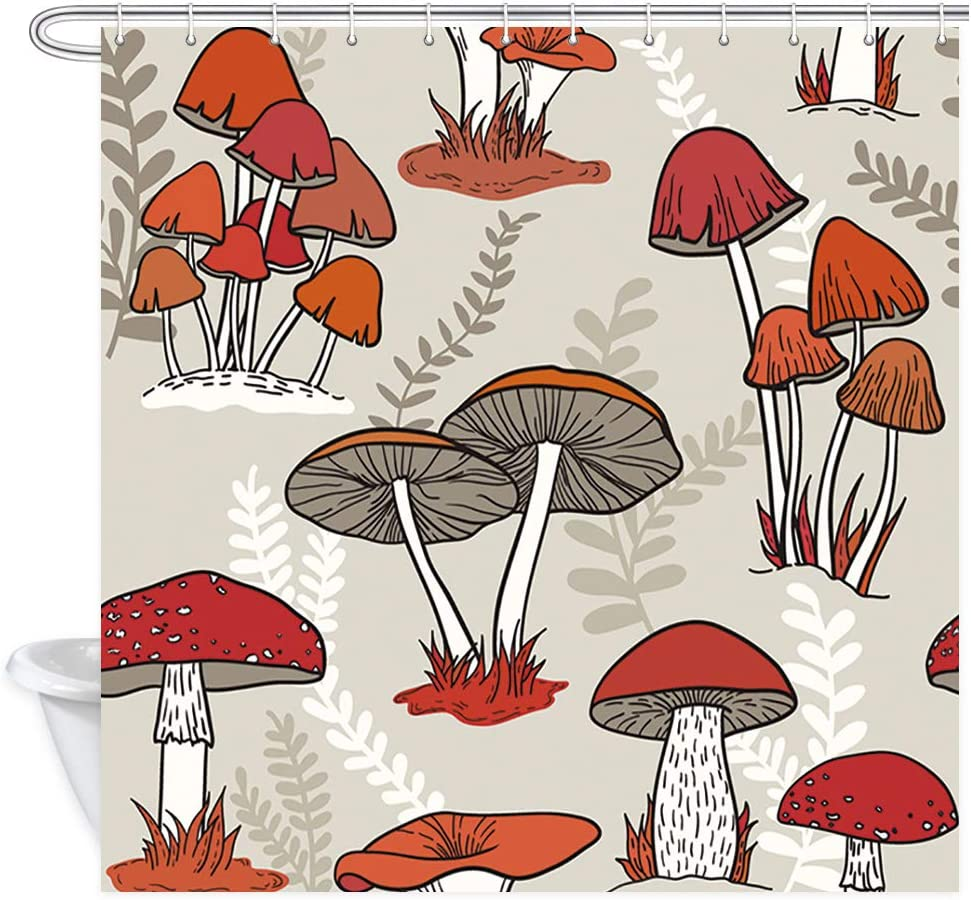 NYMB Watercolor Flowers Shower Curtains for Bathroom, Colorful Mushrooms on Grass, Polyester Fabric Cartoon Vintage Psychedelic Mushroom for Kids Bath Curtain, Shower Curtain Hooks, 69X70in (Red)