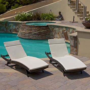 Outdoor Wicker Adjustable Chaise Lounge with Cushion  Set of 2 Amazon com   Outdoor Wicker Adjustable Chaise Lounge with Cushion  . Outdoor Pool Lounge Chairs. Home Design Ideas