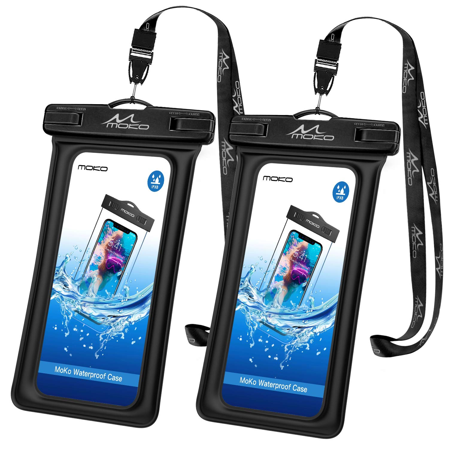 Waterproof Floating Cell Phone Bag, MoKo Floatable Phone Case Pouch Dry Bag with Lanyard Compatible with iPhone X/Xs/Xr/Xs Max, 8/7/6s Plus, Samsung Galaxy Note 9/8, S9/S8 Plus, 2 Pack, Black + Black