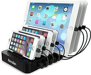 Kavalan 7 Port USB Charging Station Dock with 2 PD Charging Port, PD Charging Station Organizer Universal Desktop Tablet & Smartphone Multi-Device Charger Hub