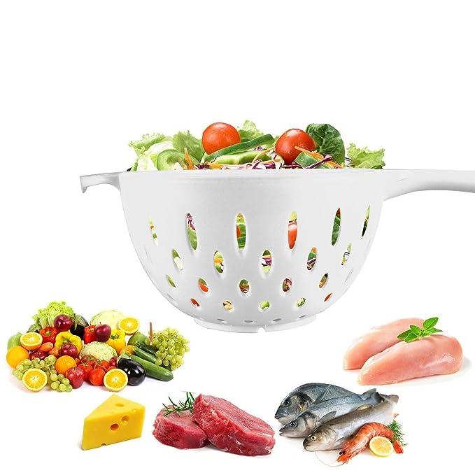 Compra Una sola mano tensión de drenaje Colador sin BPA alimentación grado  de plástico ensalada Pasta cocina esencial accesorios para lavavajillas c891f2cbe91a
