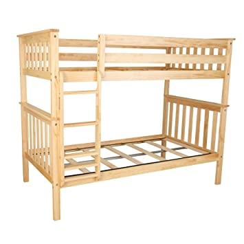 Amazon Com Max Lily Solid Wood Twin Over Twin Bunk Bed Natural