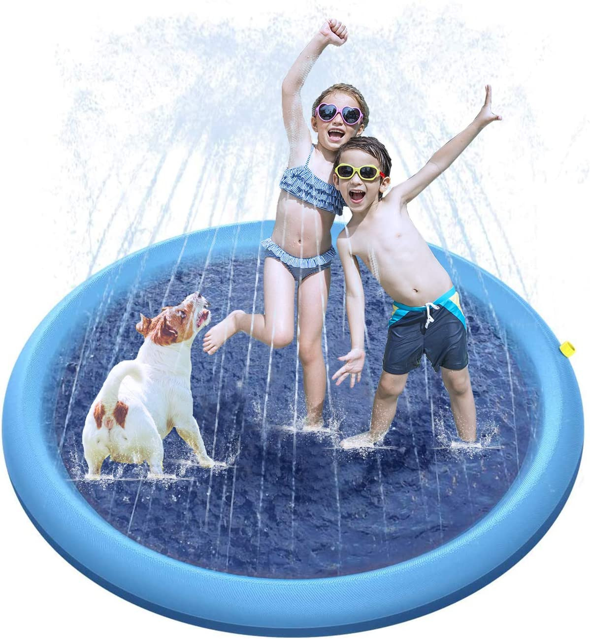 "Procity Splash Sprinkler Pad for Dogs Kids, 59"" Thickened Durable Pet Dog Bath Pool Summer Outdoor Water Toys Sprinklers Splash Play Mat"