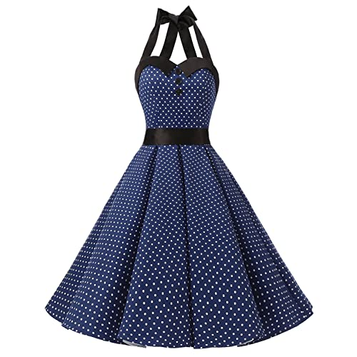 Dressystar Vintage Polka Dot Retro Cocktail Prom Dresses 50s 60s Rockabilly Bandage