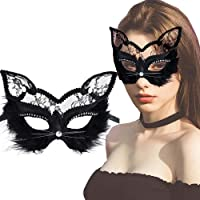 Kapmore Masquerade Mask Valentine Ball Eye Cat Women Mask Half Face Mask as Valentine's Day Gift for Women