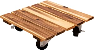 Heavy Duty Wood Planter Caddy with Rolling Metal Casters, 11 x 11 Inch Square Dolly