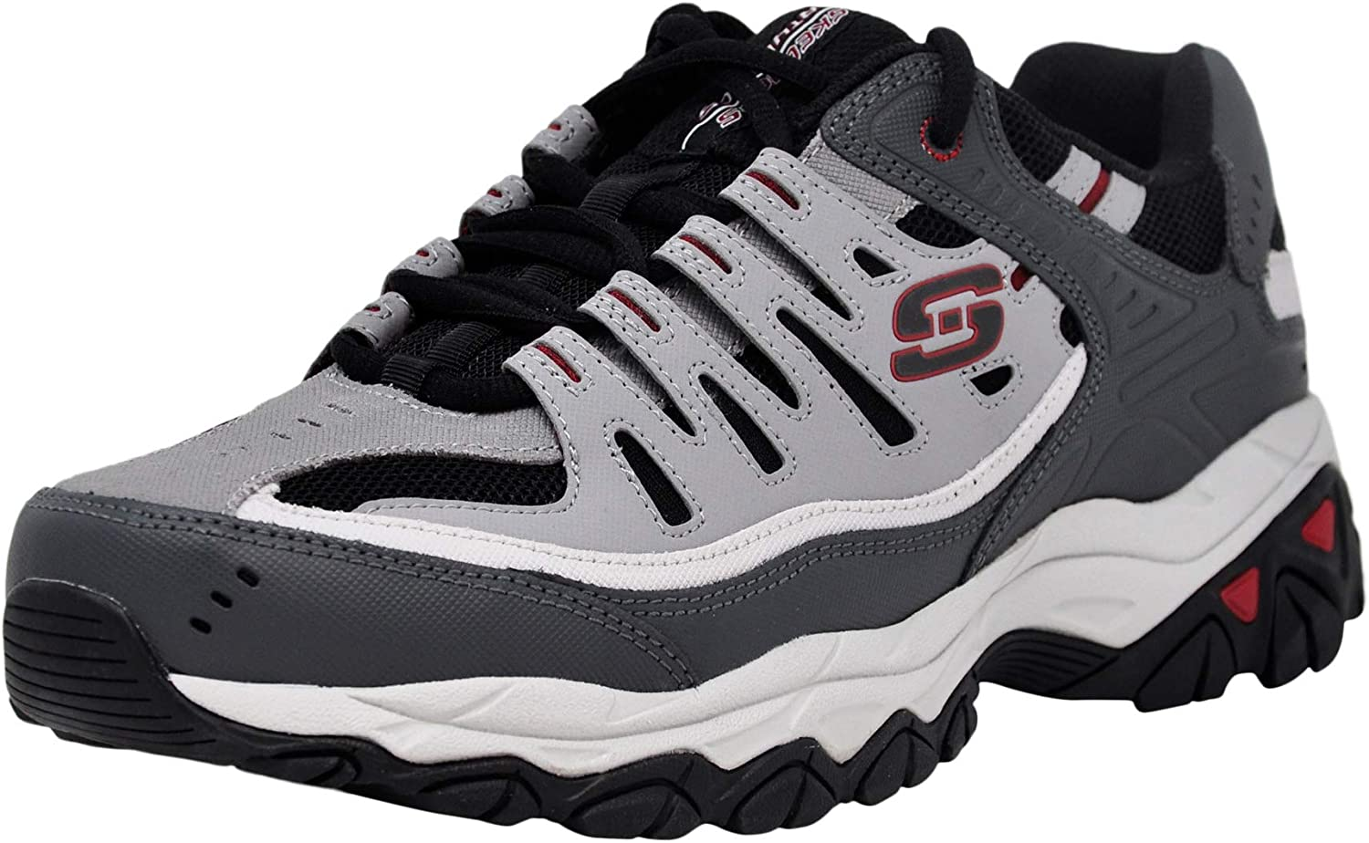 Skechers Mens After Burn Memory Fit Low Top Shoes Black: Amazon ...