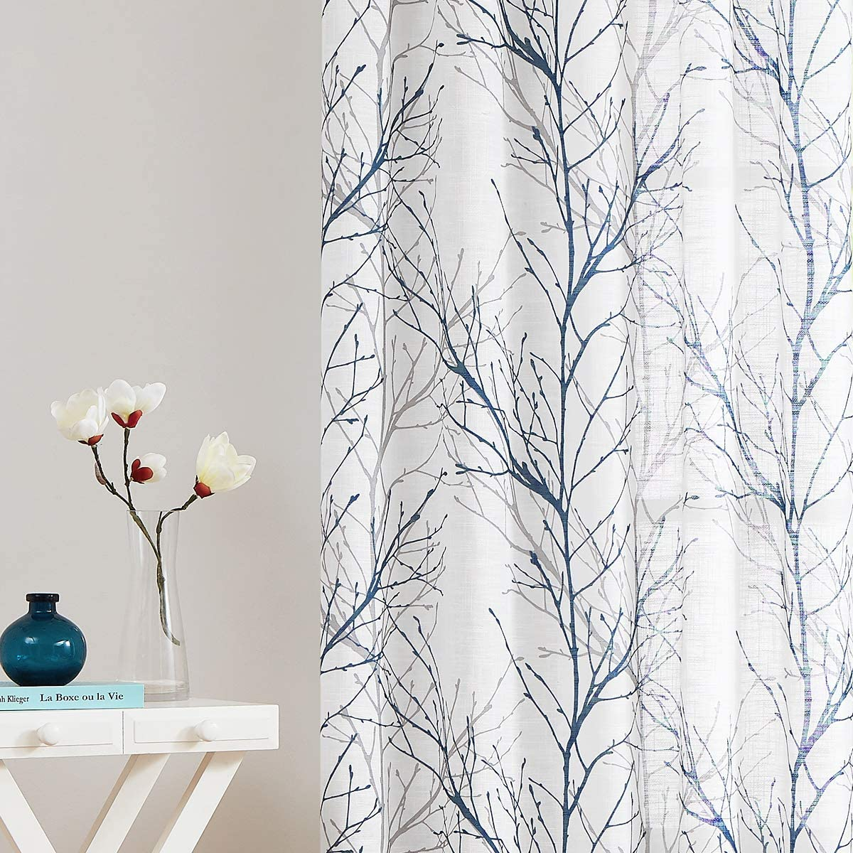 """Blue White Tree Curtains for Living Room 54"""" Grey Branches Print Curtain Set for Small Bedroom Windows Laundry Room Linen Textured Country Rustic Semi-Sheer Drapes for Basement Rod Pocket, 2 Panels"""