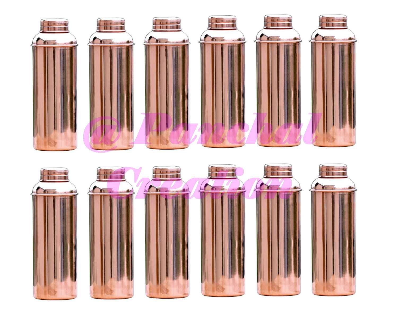 Panchal Creation 12 Pcs 800 Ml Flask Copper Storage Bottle Traditional Ayurvedic Health Benefits
