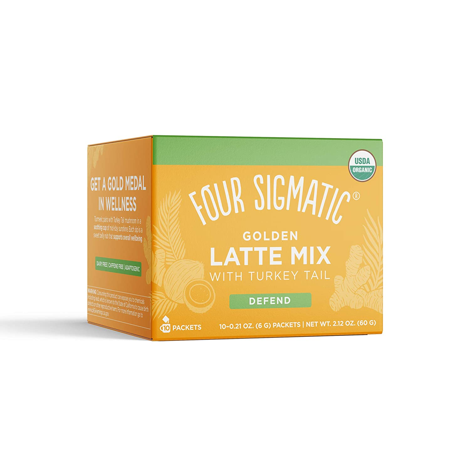 Four Sigmatic Golden Latte, Organic Instant Golden Latte with Shiitake Mushroom, Turmeric & Coconot Milk Powder, Supports Healthy Skin & Stress, Decaf + No Dairy, 10 Count