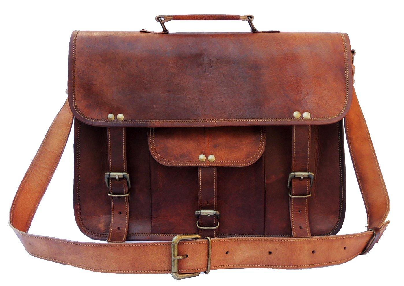Leather Laptop Briefcase Bag Messenger 15 Inch Cross Body Shoulder Vintage Style Bag for Women & Men, Brown