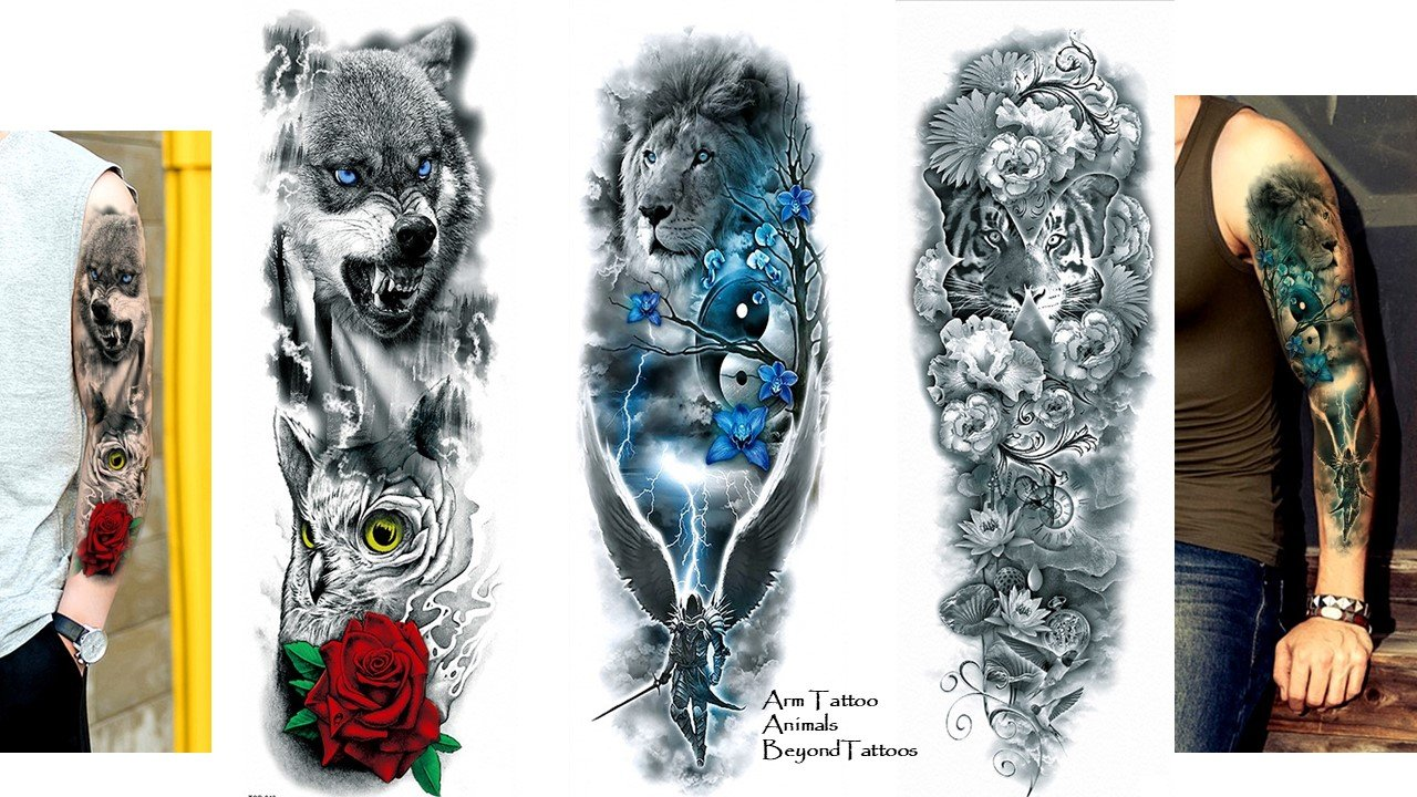 3 Sheet pieno braccio Tattoo Braccio Tattoo Leone Tiger Wolf lunghezza 45 cm Beyond