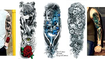 3 Sheet Vollen Arm Tattoo Oberarm Tattoo Lowe Tiger Wolf Lange 45cm