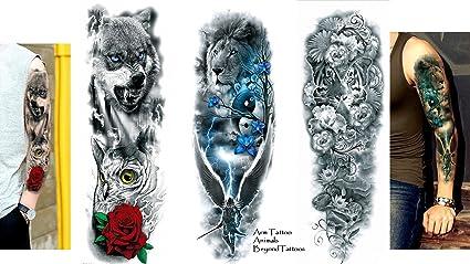 3 Sheet completa Arm Tattoo exterior Tattoo León Tigre Lobo ...