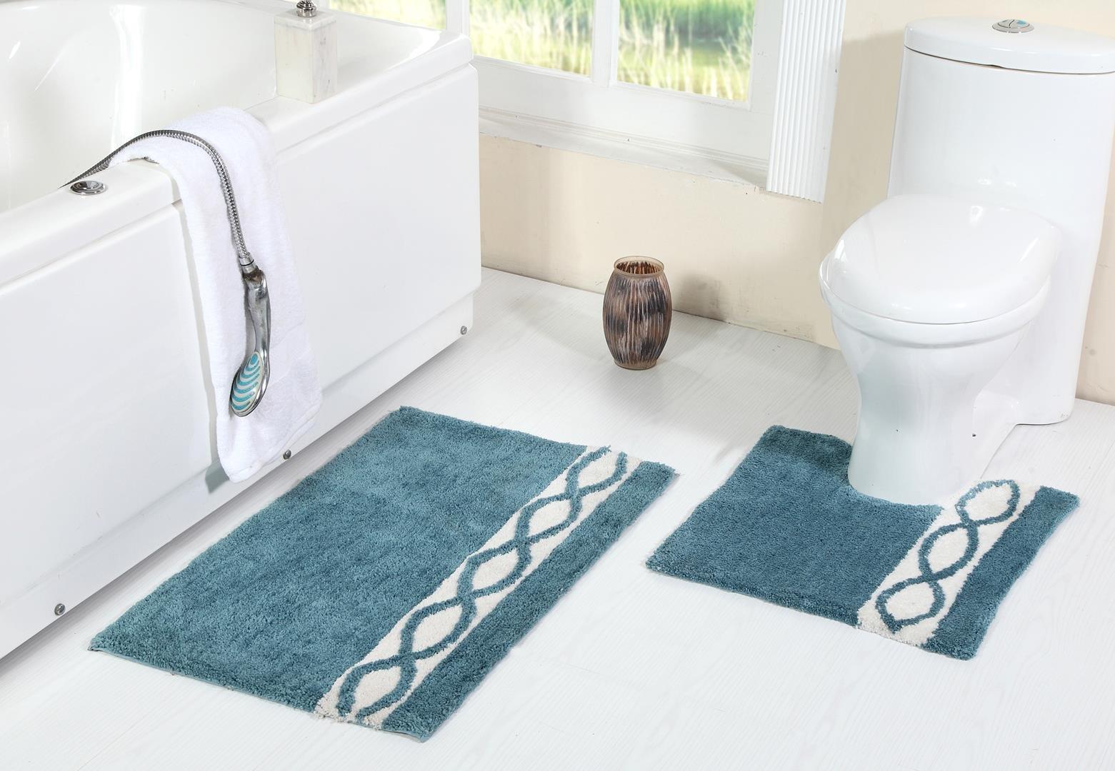 WARISI Pedestal Collection - 2 Piece Designer Plush Wave Bath Rug + Contour (Toilet seat foot rug) (34''x21'', Aqua)