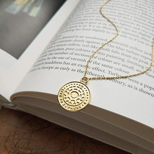 Amazon.com: VACRONA Gold Coin Pendant Necklaces, 18K Gold Filled Disc Sun Dainty Engraved Handmade Circle Tiny Lucky Special Coin Necklaces for Women: ...