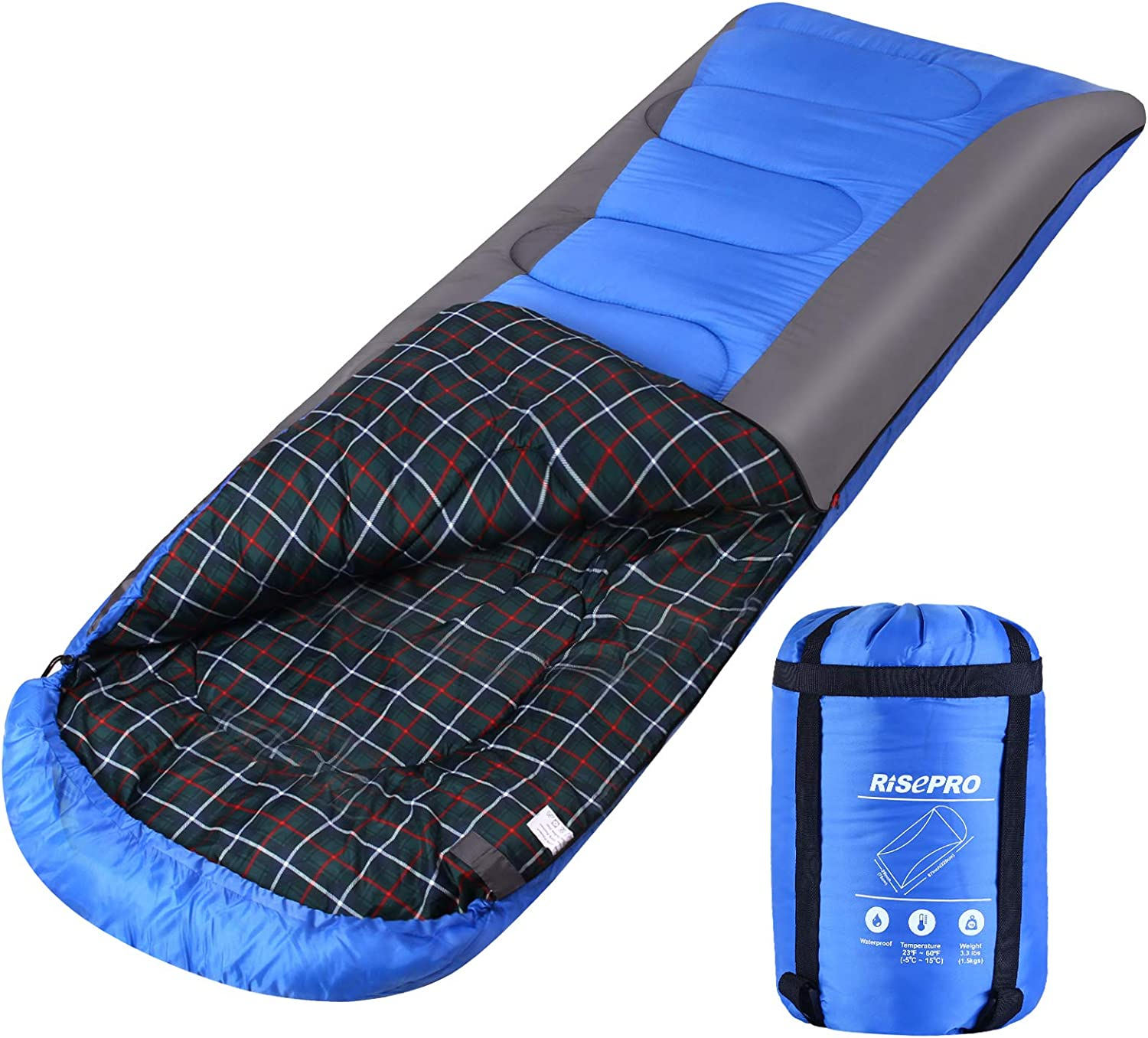 30°F//-1°C Polyester Sleeping Bag Lightweight Waterproof Camping Hiking With Case
