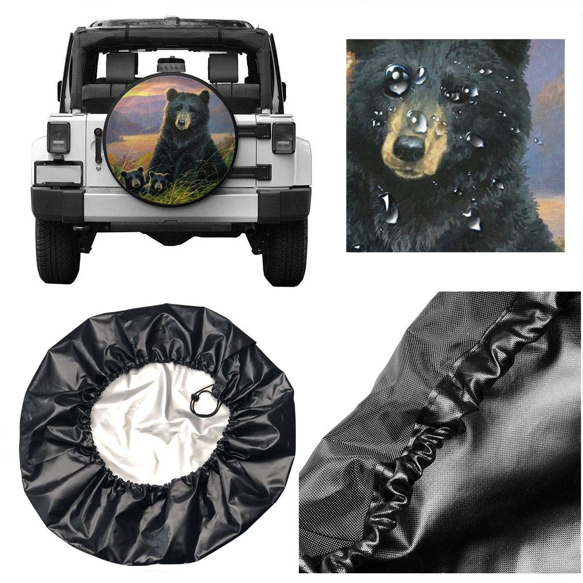 Bear Mother with Cub Spare Wheel Tire Cover PVC Leather Fit for RV