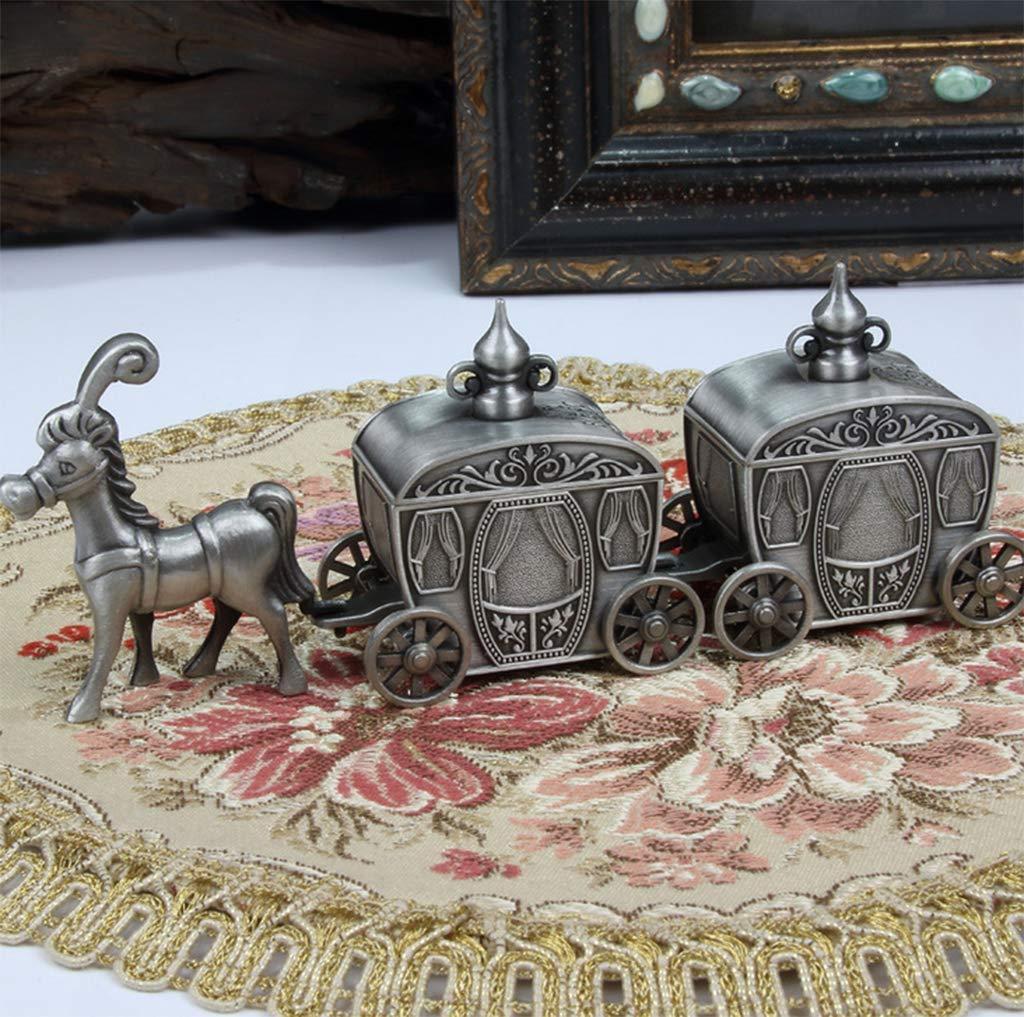 Metal Baby Tooth Box, Carro De Niños Modelado Dientes De Leche/Cordón Umbilical/Lanugo Memory Cajas De Almacenamiento Organizador Inglés para Bebé, ...