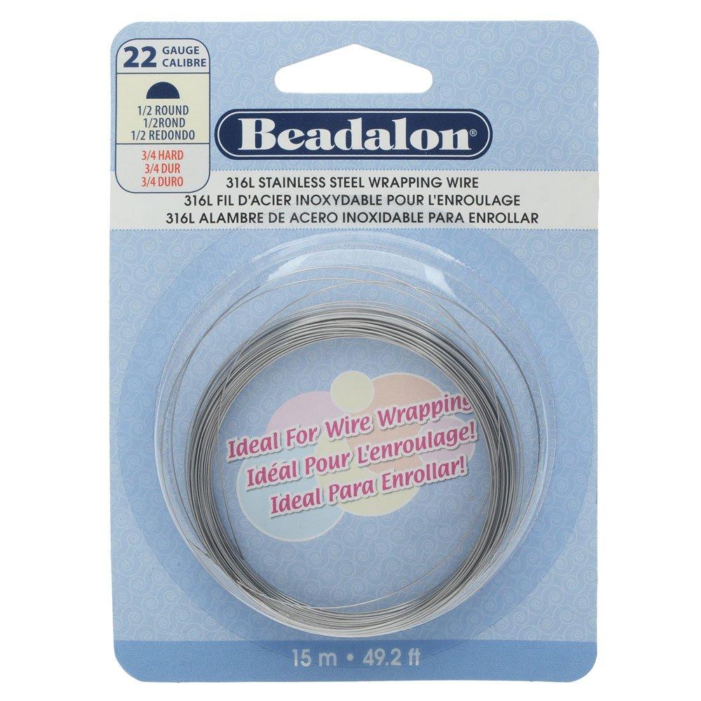 Beadalon 180S-122 Half Round Wire 316L Stainless Steel 22 Gauge, 15-Meter