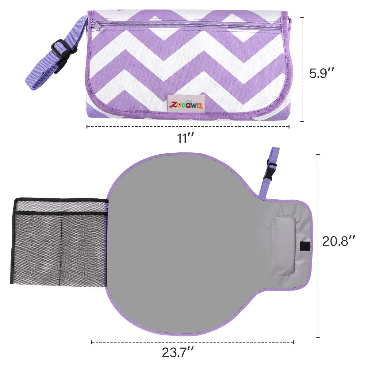 Zooawa Portable Diaper Changing Pad Mat Waterproof Folding Station Clutch Travel Carrying Bag with Built-in Pillow for Baby Infants Gray Stripe