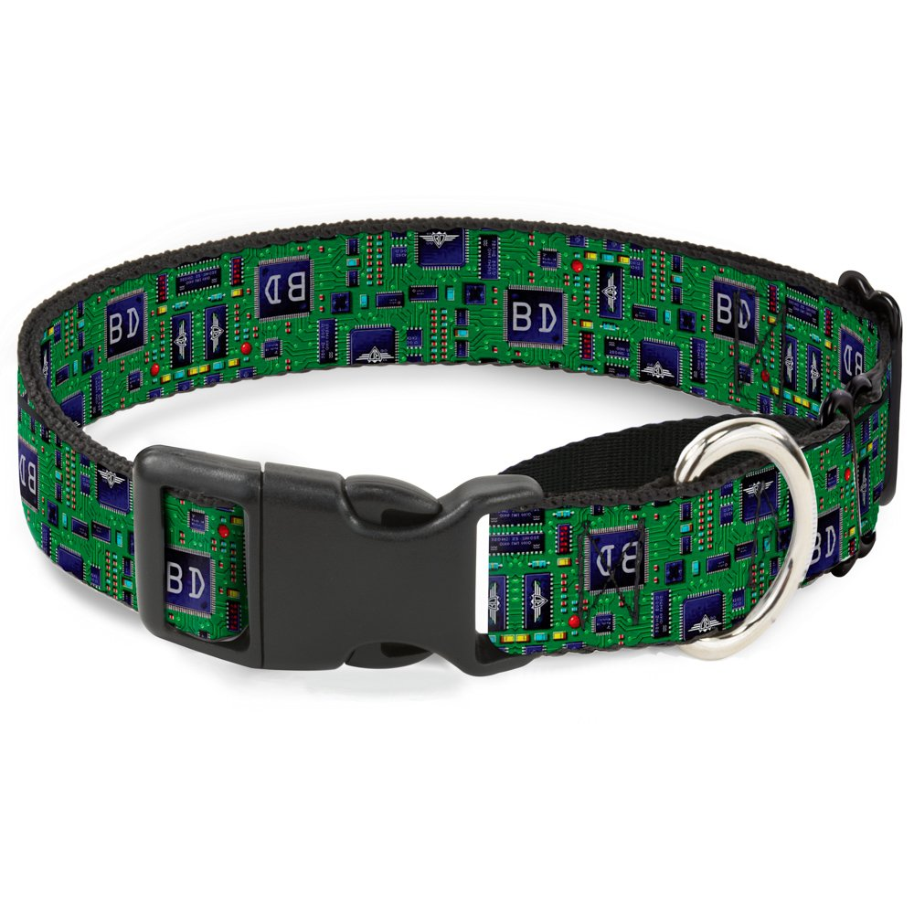 Buckle-Down Circuit Board Martingale Dog Collar, 1  Wide-Fits 9-15  Neck-Small