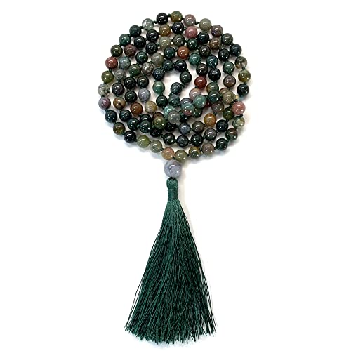 Mala Necklace /& Bracelet with Tassel Aspen /& Eve 108 Bead Malas Strand 108 Beads Necklace for Mindfulness /& Yoga 8mm Stone Beads
