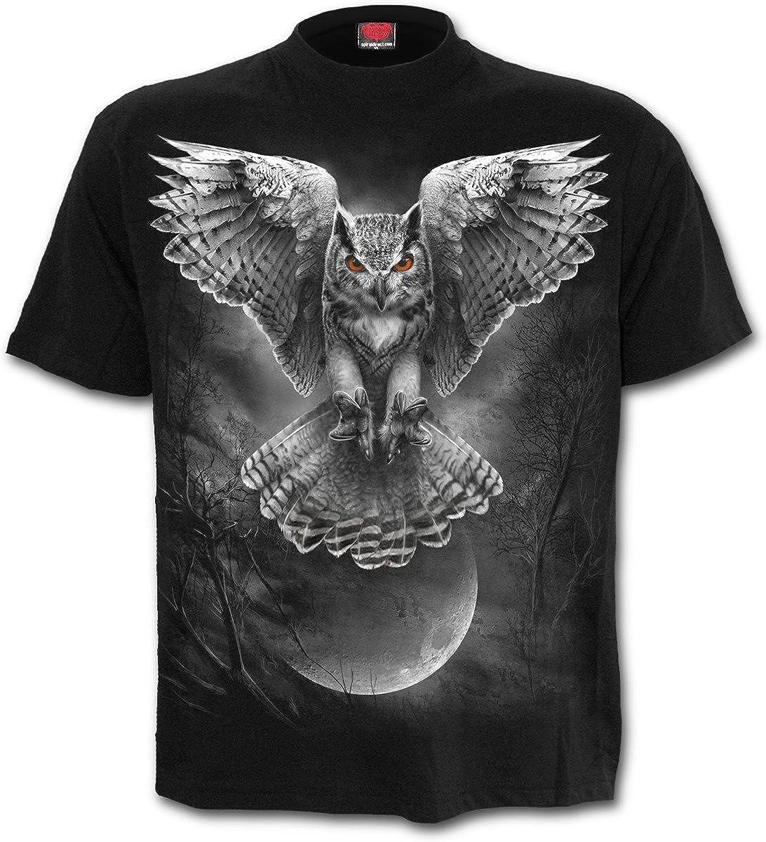 Alas de la sabiduría, búhos fantasía metal gótico camiseta para hombre de Negro - XXL - Espiral: Amazon.es: Ropa y accesorios