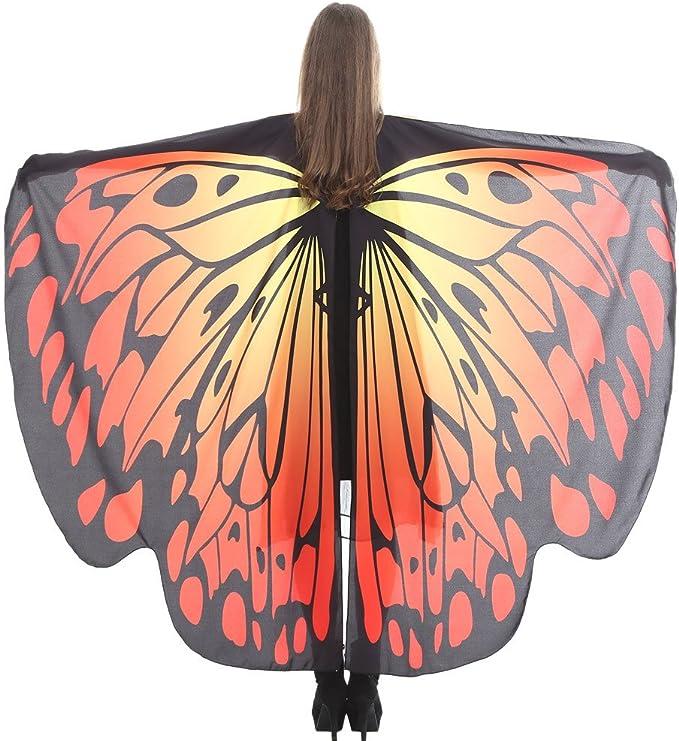 Sudady - Disfraz de disfraz, chal con alas de mariposa, para mujer ...