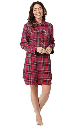 78e3ab7912 PajamaGram Flannel Nightgown Soft Plaid - Sleep Shirt for Women