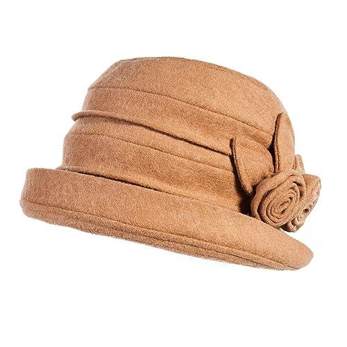 Siggi - Sombrero de bombín para mujer, apilable, estilo vintage años 20, lana y fieltro, para invier...