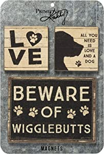 Primitives by Kathy 39363 Distressed Black and White Magnet Set, Set of 3, And A Dog