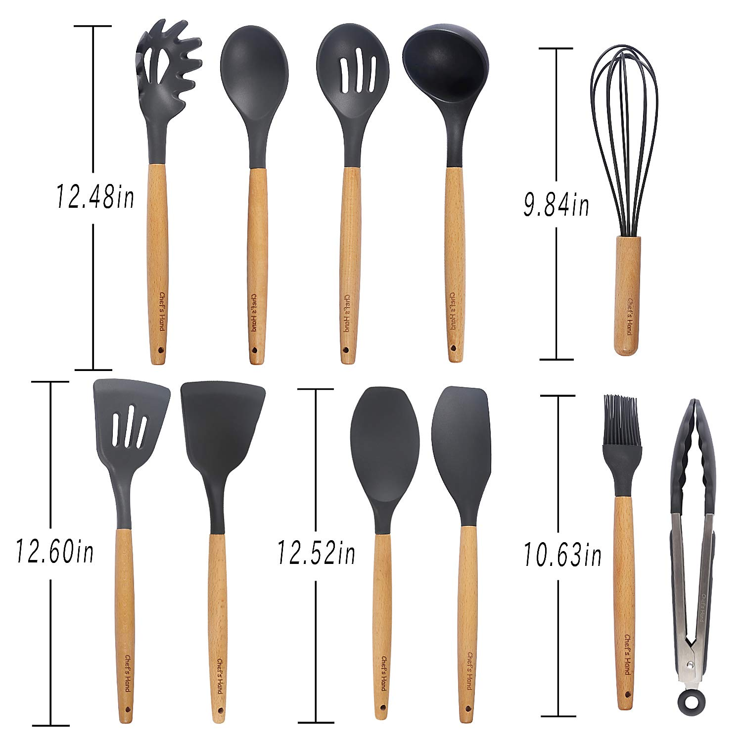 Kitchen Utensil Set - 11 Piece Cooking Utensils - Non-stick Silicone and Wooden Utensils. BPA Free, Non Toxic Turner Tongs Spatula Spoon Set. Best Chef Kitchen Tool Set Gray - Chef's Hand by Chef's Hand (Image #8)