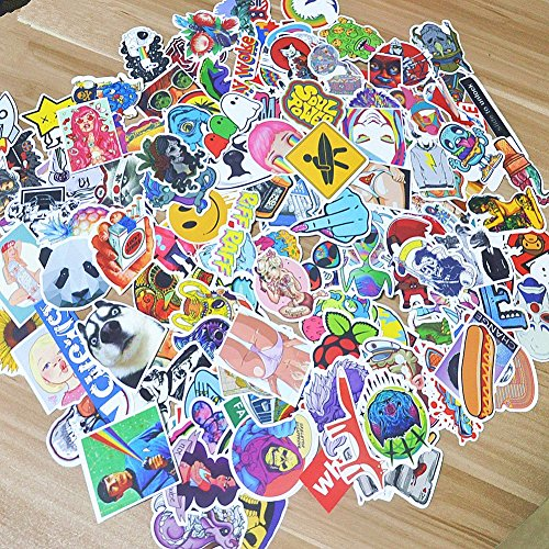 Stickers 200-Pcs PVC Decals Waterproof Sunlight-Proof DIY Ideals for Cars, Motorbikes, Spinner Luggages, Laptops