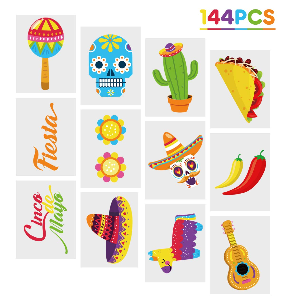 Cinco de Mayo Fiesta Tattoos Stickers – Mexican Party Favors Supplies Decorations