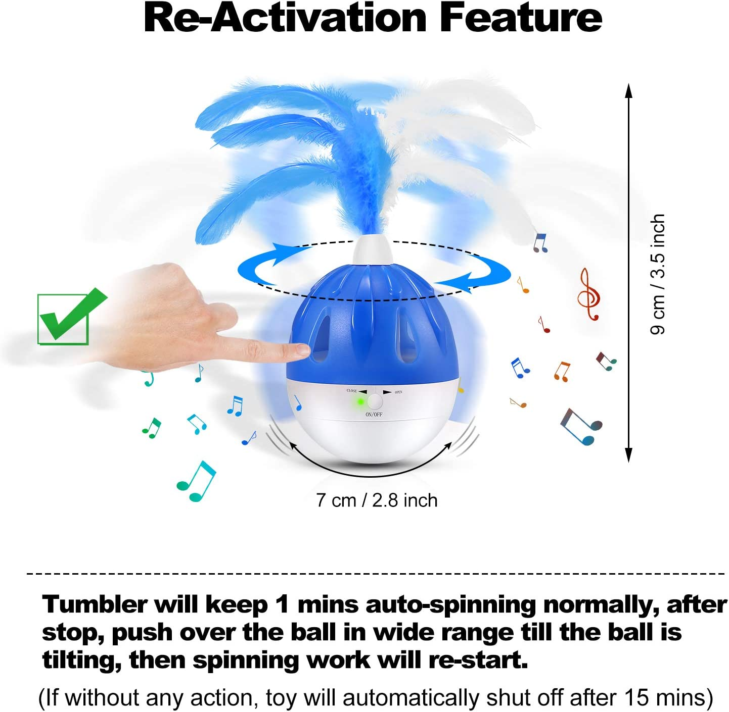 WINGPET Cat Toys Interactive Cat Ball Toy, Automatic Spinning Tumbler with Feather Teaser LED Light Chrip Sound Treat Dispenser, 4 in 1