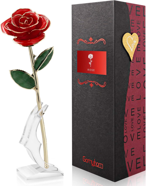 Gomyhom Rosa 24K, Rosa de Oro Chapada en Oro con Caja de Regalo para Madre para Amor en el Día de San Valentín para Aniversario para Amigos como Un Regalo de Cumpleaños (Rojo Grande)