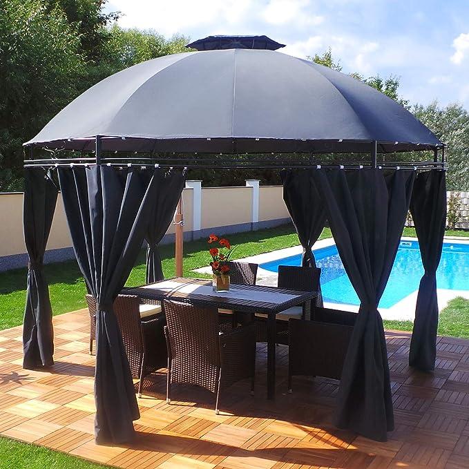 LED – Carpa 350 cm Lavo – con paredes laterales y LED Iluminación + Módulo Solar Redonda de jardín Cenador redondo, antracita