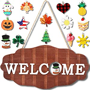OurWarm Interchangeable Seasonal Welcome Sign Front Door Decor, Rustic Wood Wall Hanging Porch Decorations for Home, Christmas, Farmhouse, Thanksgiving Front Porch Decor, Christmas gifts 12 x 6 inch