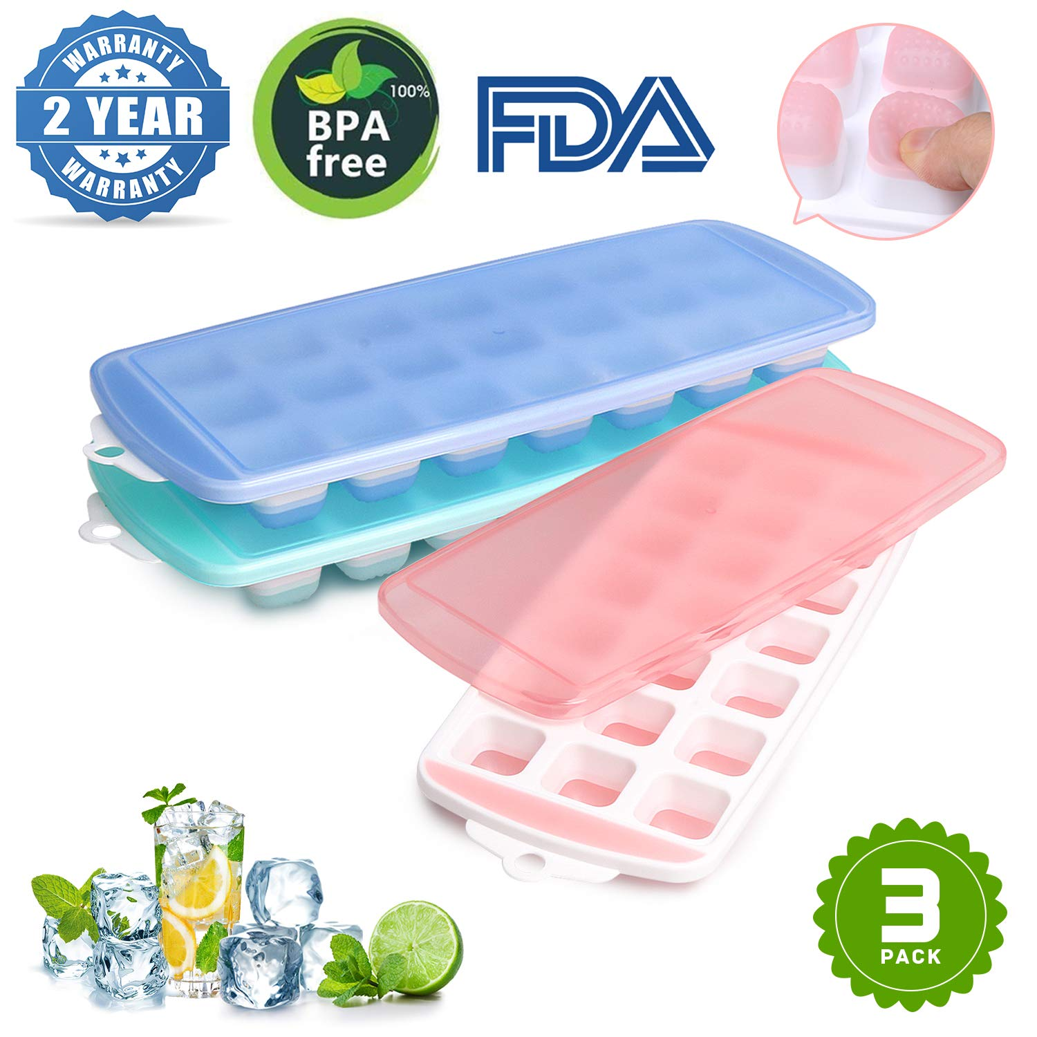 Ice Cube Trays,Ice Tray Food Grade Flexible Silicone Ice Cube Tray Molds with Lids, Easy Release Ice Trays Make 63 Ice Cube, Stackable Dishwasher Safe, Non-toxic,BPA Free (3 Packs)