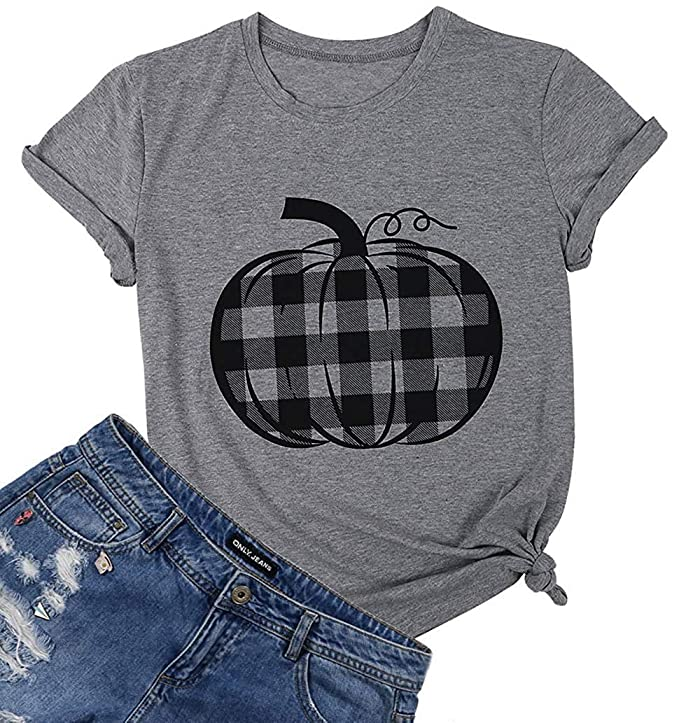 Pumpkin Shirt Top Women Halloween Buffalo Check Pumpkin Plaid Pattern Graphic Print T Shirt Tee Size L (Gray)