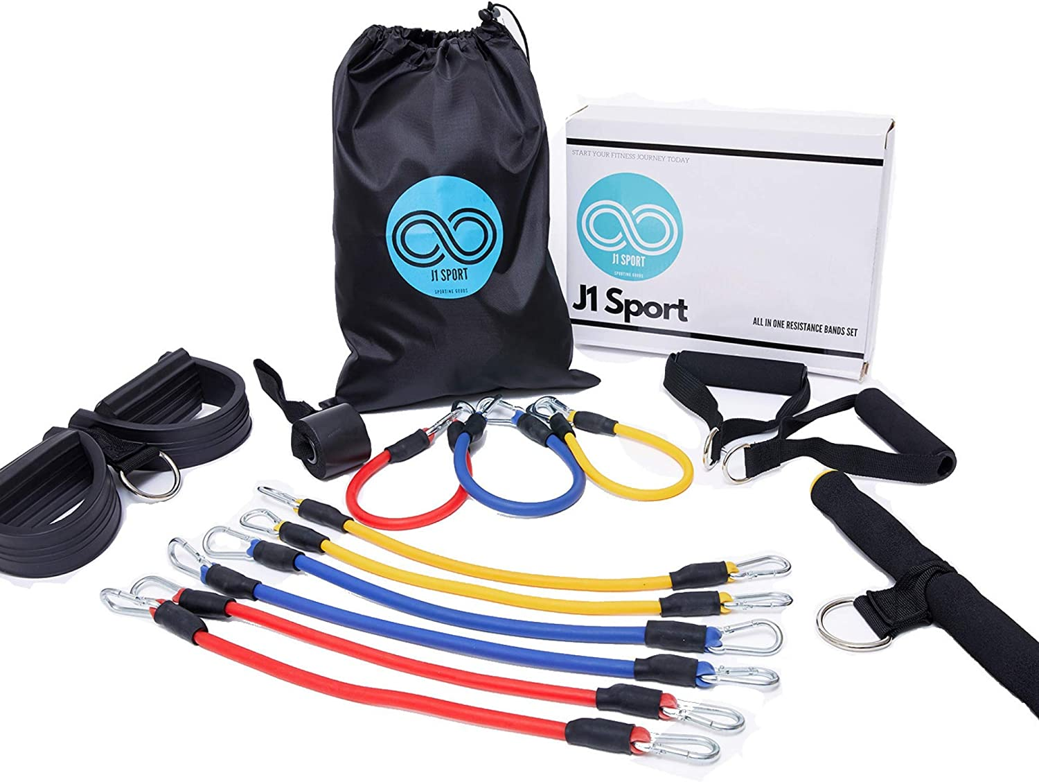 J1 Sport All-in-One Pedal Resistance Bands Set - 15 Piece Home Workout Equipment up to 180 LBS Pedal & Sit ups Pull Exercise Muscle Toning Tension Rope  Strength Training   Stretching