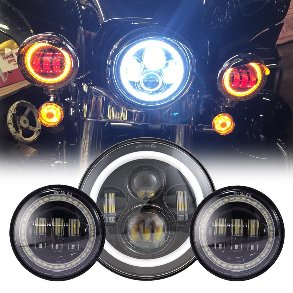 Black 7 Inch Harley Led Headlight With Drl 2x 45 30w Wiring Harness Diagram 95 Flhr Fog Light Passing Lamps For Motorcycle Automotive